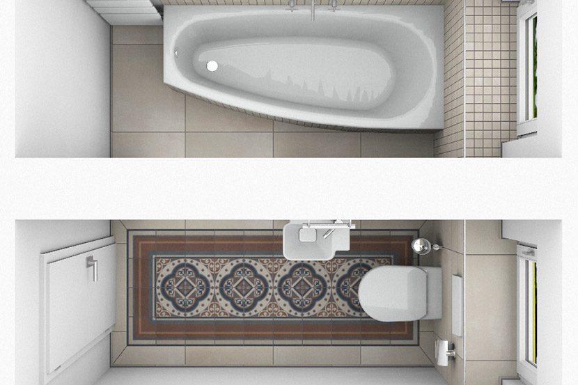 CAD-Plan für ein Bad mit Villeroy & Boch Century Fliesen - Draufsicht