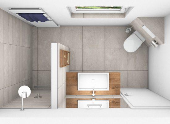 CAD-Plan für ein Bad mit XL-Fliesen