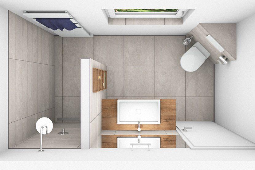 CAD-Plan für ein Bad mit XL-Fliesen - Draufsicht