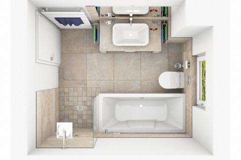 CAD-Plan für ein Bad mitNaturstein-Fliesen - Draufsicht