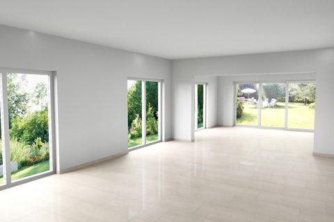 CAD-Plan für Wohnzimmer inkl. hellen Marmor-Fliesen